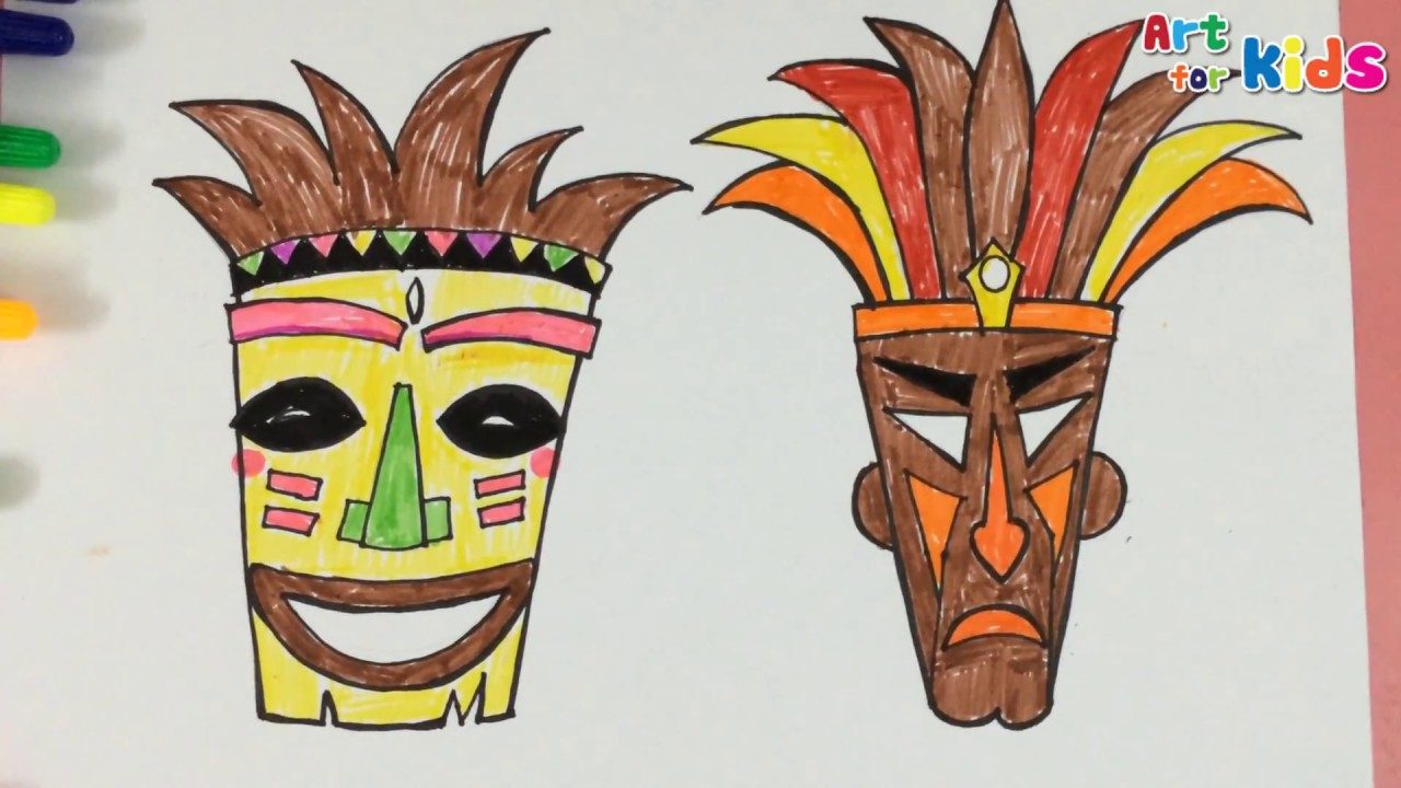 1280x720 How To Draw A Tiki Mask 1 Painting For Kids Art For Kids