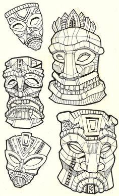 236x388 Tiki Drawings Illustration This Tiki Mask Is For A Longboard