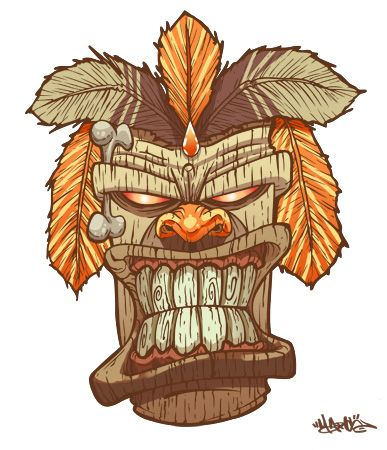 387x450 Tiki God Mask By Marcosmachina On Illustration