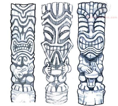 500x451 Tiki Mask Tattoos Design