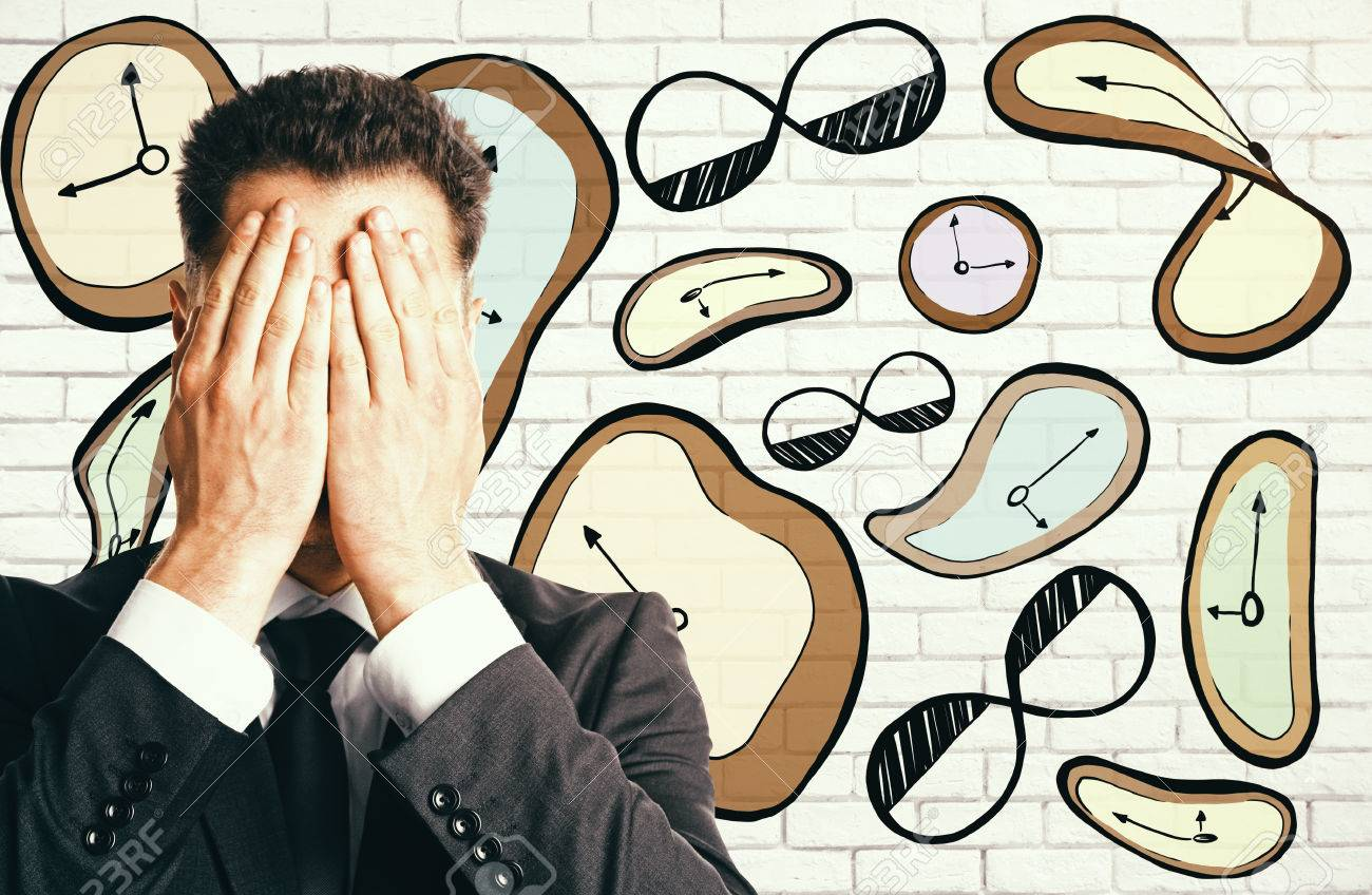 1300x848 Abstract Surrealistic Clock Drawing And Stressed Businessman