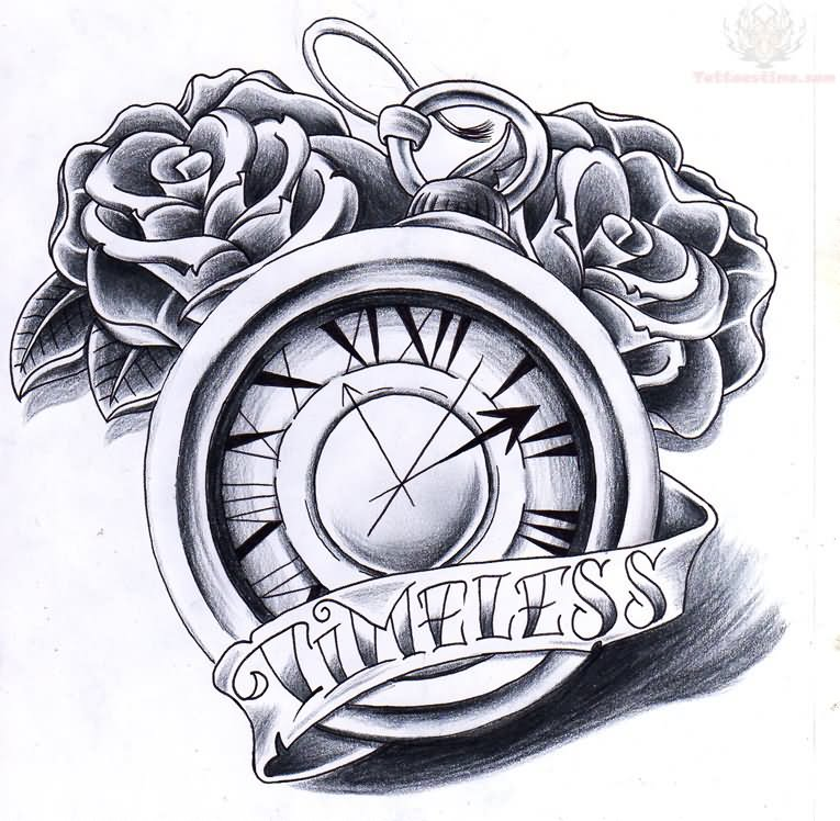 765x748 Timeless Banner And Clock Tattoo Design Tattoos