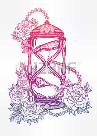 321x450 Hand Drawn Romantic Beautiful Drawing Of A Hourglass With Roses