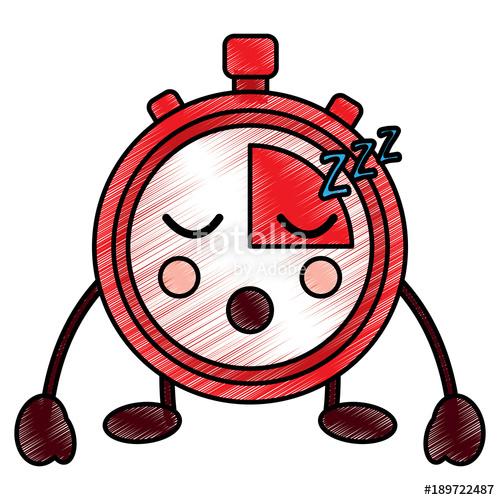 500x500 Kawaii Chronometer Speed Timer Cartoon Character Vector