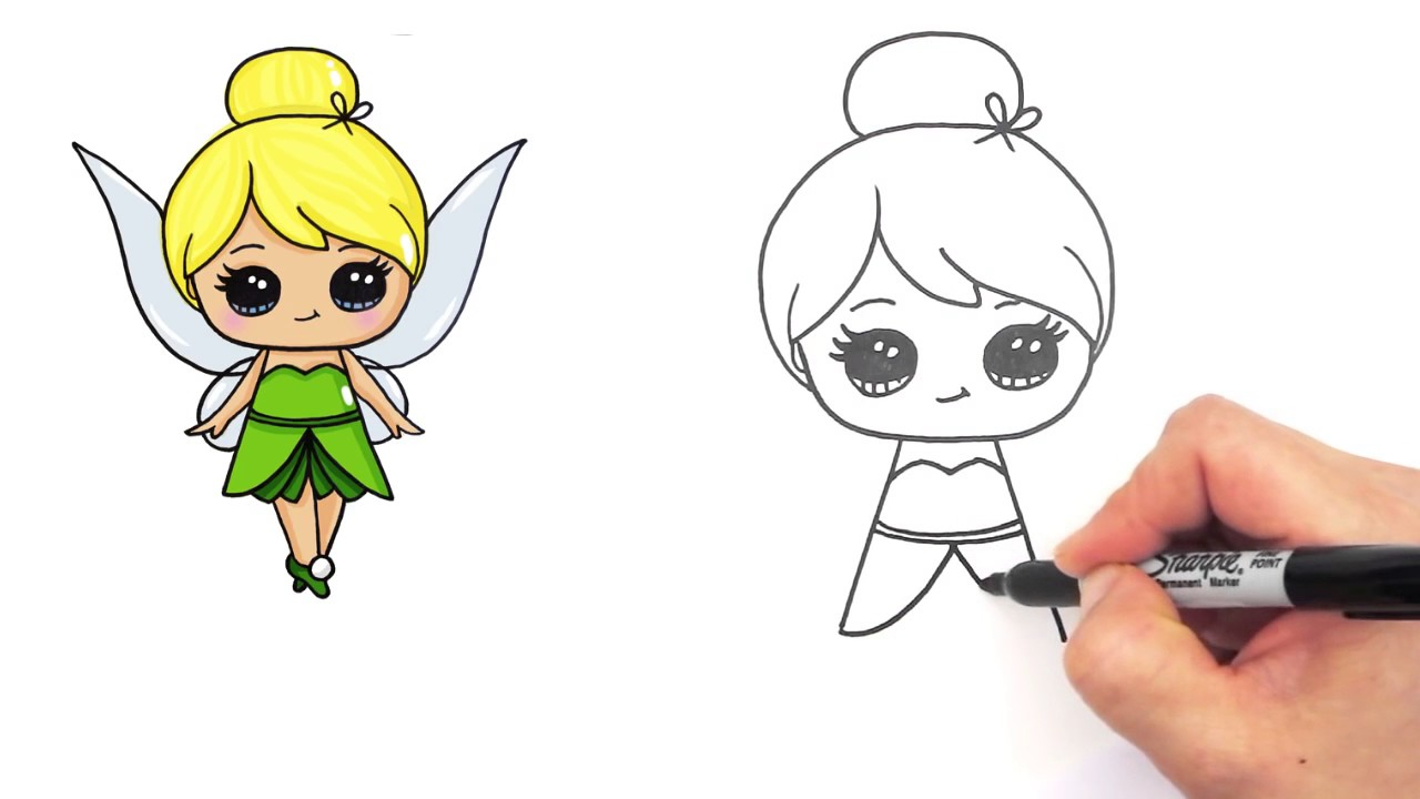 1280x720 How To Draw Disney Tinker Bell Fairy Step By Step Cute