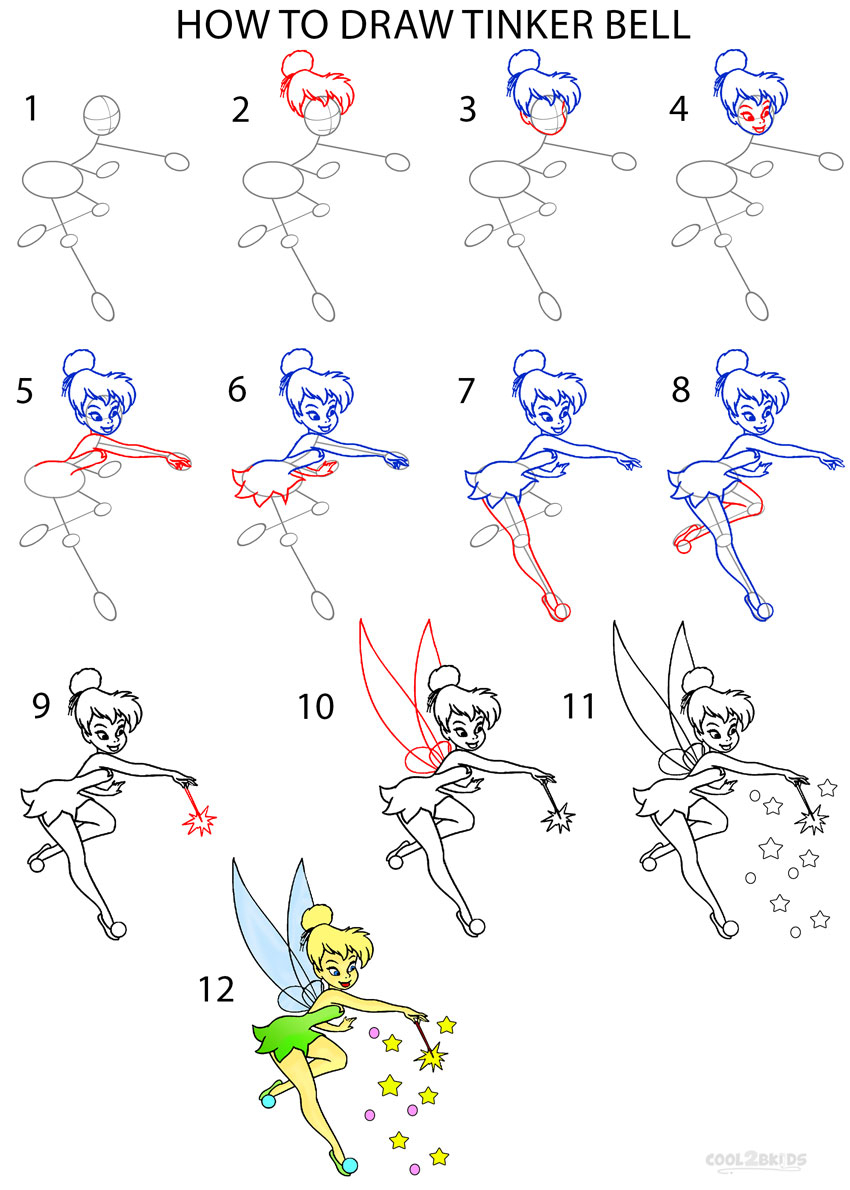 850x1190 Draw Tinkerbell Step By Step