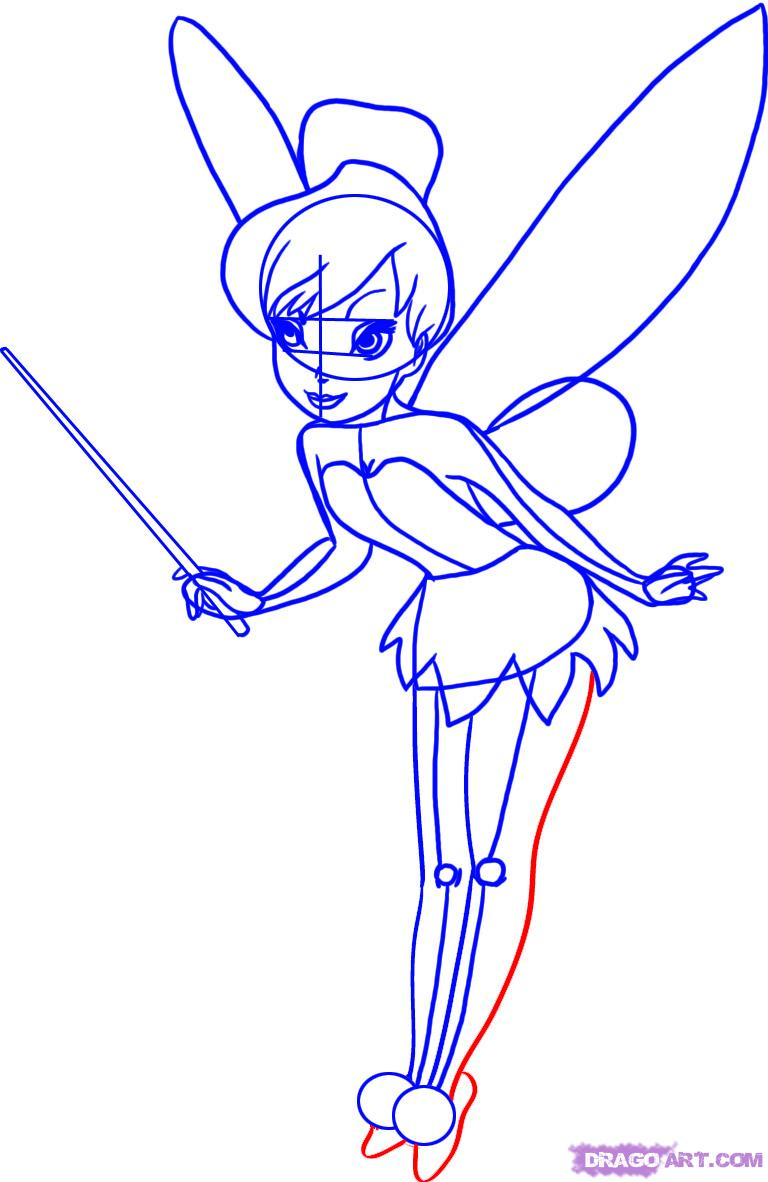768x1182 How To Draw Disney Cartoons Learn How To Draw Tinkerbell Step 7