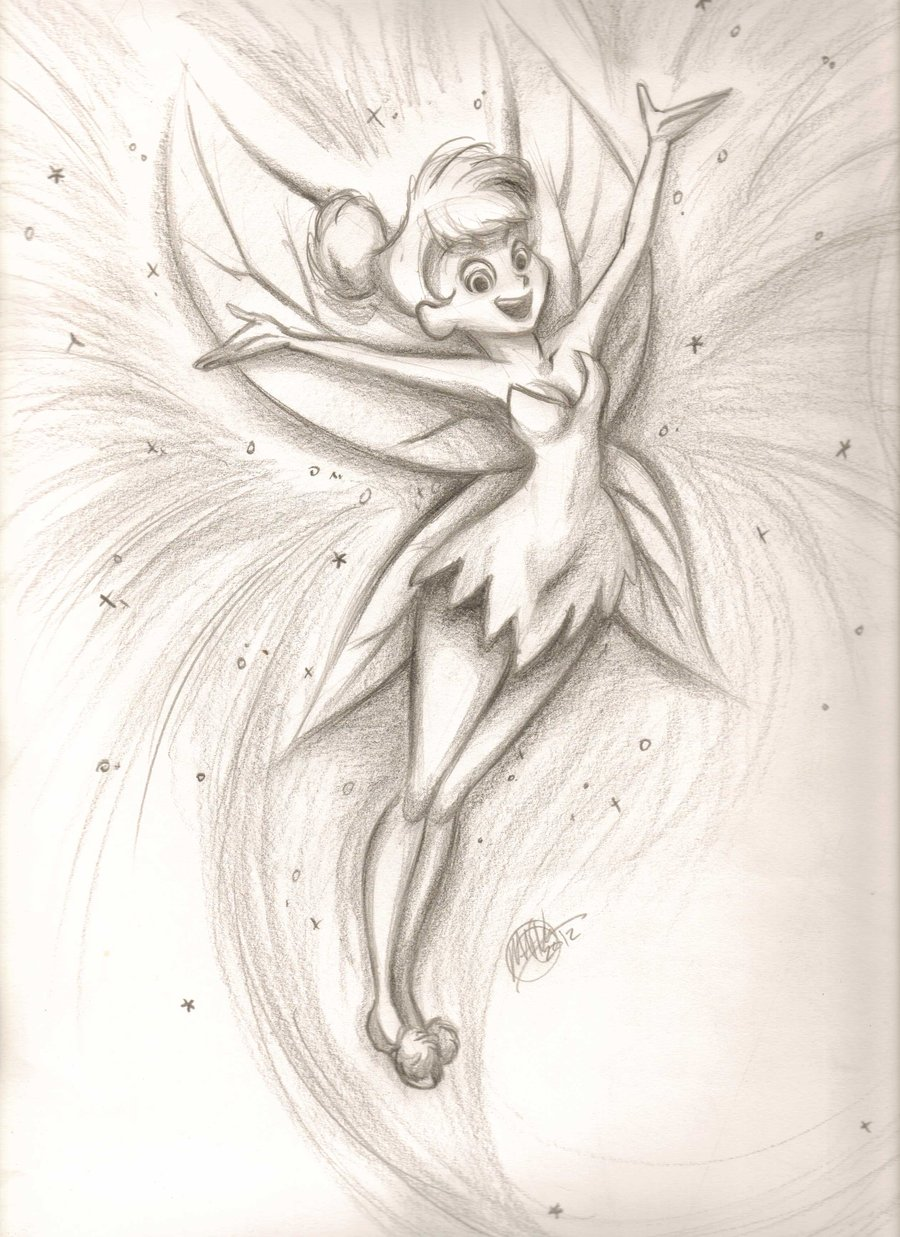 900x1237 Peter Pan Tinkerbell Pencil Drawing Of Tinkerbell Tinkerbell By