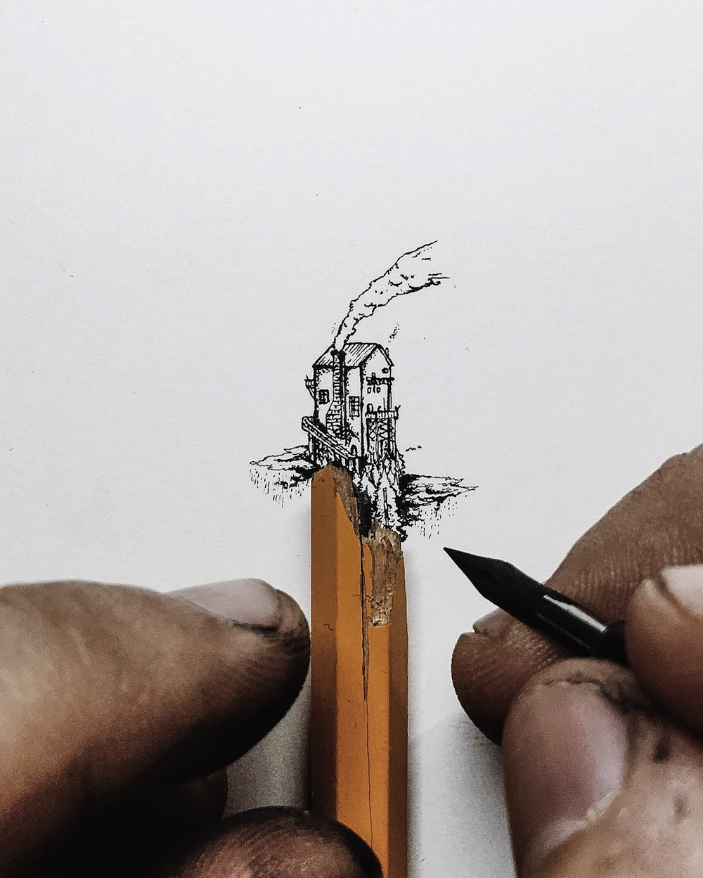 1000x1249 Tiny Ink Drawings Scaled To The Size Of Pencils, Fingers,