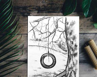 340x270 Sketch, Art, Tree Drawing, Original Pencil Tyre Swing Drawing