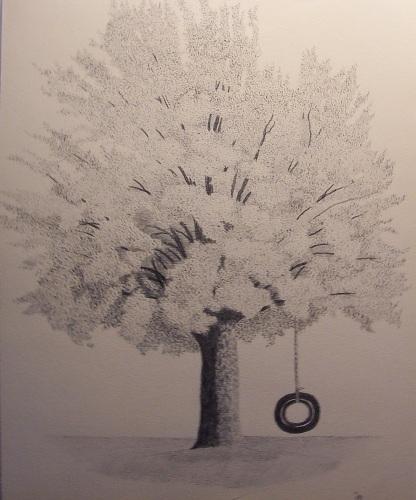 416x500 Tire Swing Drawing Handmade Michigan