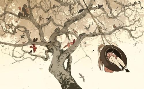 500x312 Bird, Boy, Girl, Illustration, Jillian Tamaki, Reading