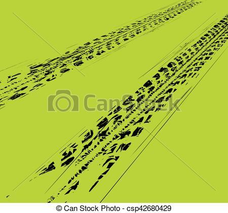 450x421 Tire Tracks Background. Vector Illustration On Green Vector
