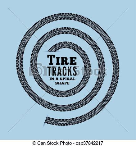 438x470 Tire Tracks In Spiral Shape. Vector Illustration On Vector Clip