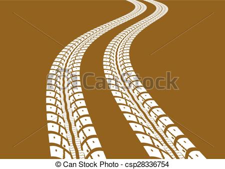 450x338 Tire Tracks. Vector Illustration On Yellow Background Clipart