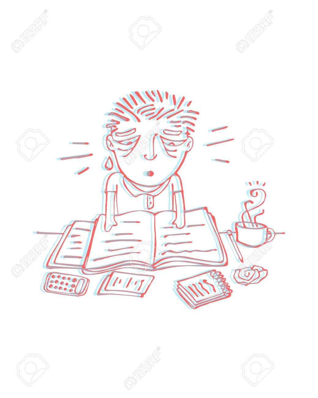 1039x1300 Hand Drawn Vector Illustration Or Drawing Of A Tired Man Studying