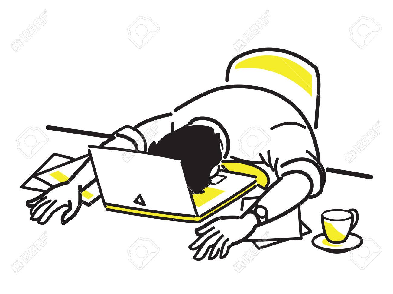 1300x975 Vector Illustration Character Of Tired Businessman Sleeping