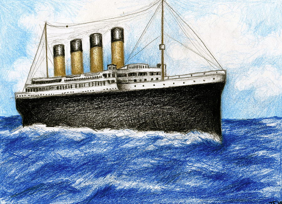 900x651 Titanic At Sea 1 Drawing By James Falciano