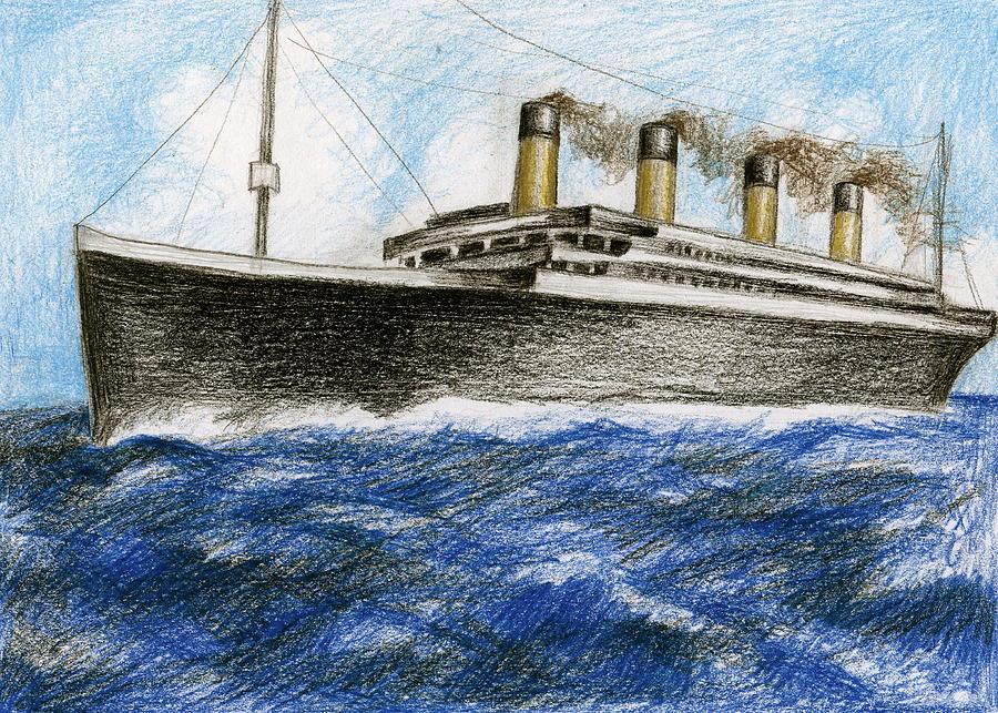 900x643 Titanic At Sea 2 Drawing By James Falciano