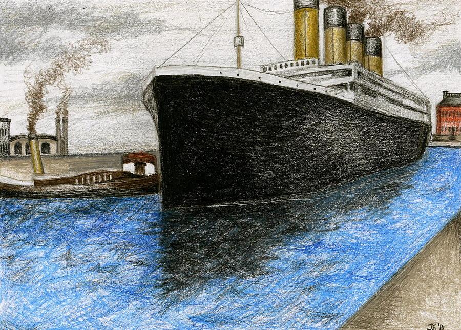 900x644 Titanic At Southampton Drawing By James Falciano