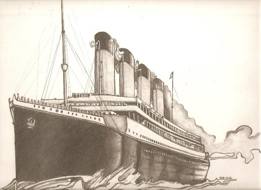900x653 Titanic Drawing Drawing By Robert Crandall