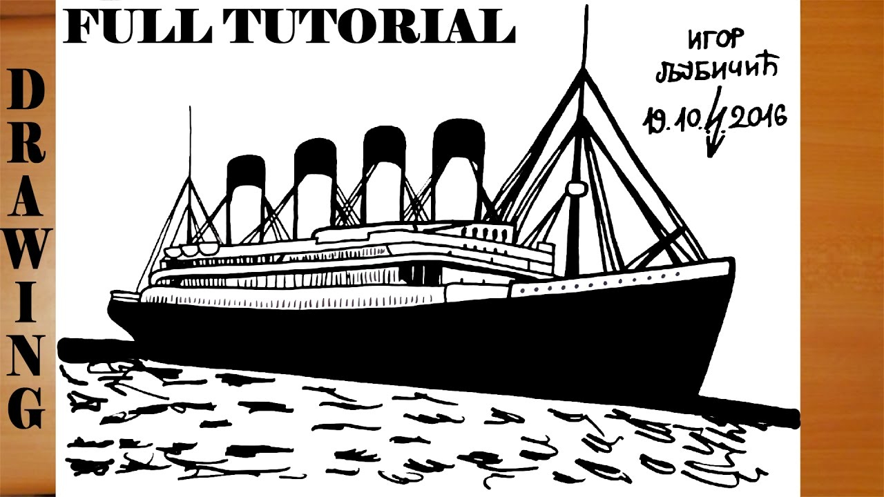 1280x720 Titanic Ship Color Pencil Drawing Photos How To Draw Titanic Step