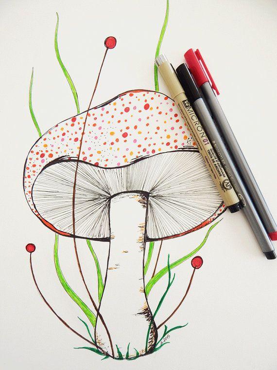 570x760 Colorful Mushroom Drawing. Botanical Art. Mushroom Art. Fungi