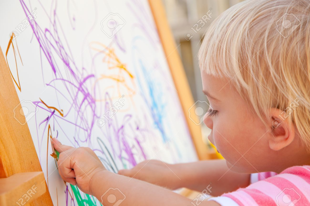 1300x866 Little Toddler Drawing On A Whiteboard Stock Photo, Picture