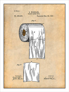 225x300 1891 Toilet Paper Roll Patent Print Colorized Art Drawing Poster