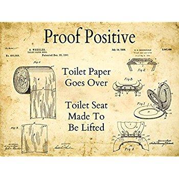 350x350 Toilet Paper Patent Drawing Metal Sign, Vintage, Bath