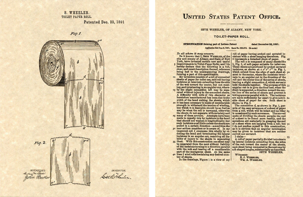 1000x651 First Toilet Paper Roll Us Patent Art Print Ready To Frame