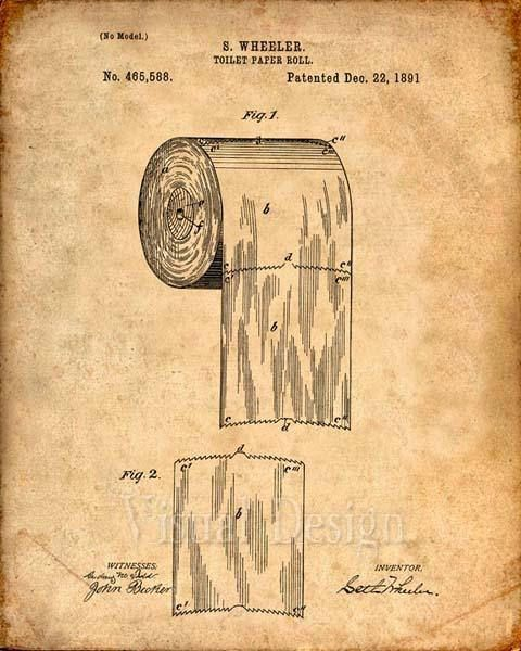 480x600 This Is A Print Of The Patent Drawing For A Toilet Paper Roll