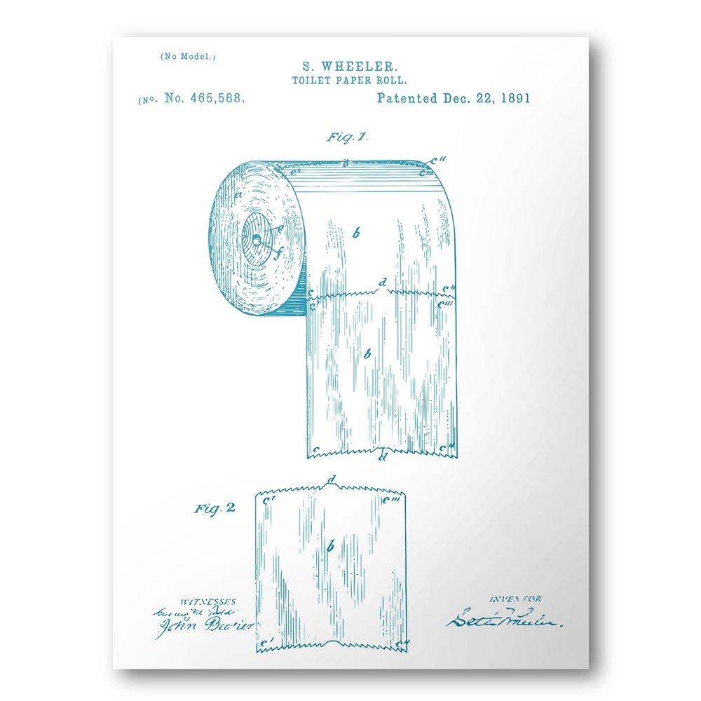 1000x1000 Toilet Paper Patent Poster Toilet Paper Patent Art Blueprint
