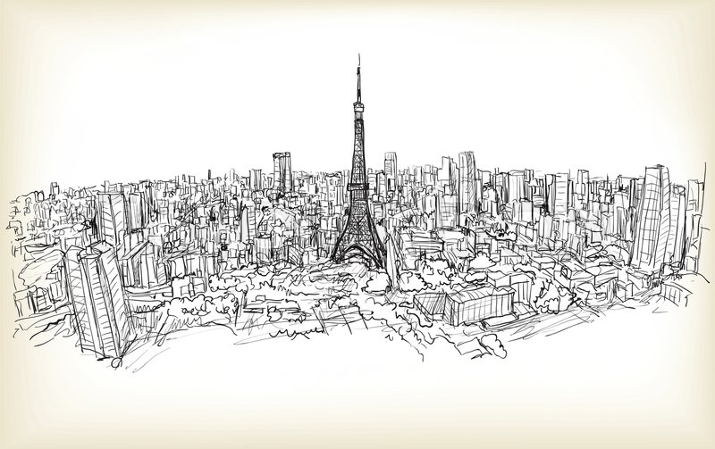800x503 Sketch Of City Scape Tokyo Tower With Building Skyline, Free Hand