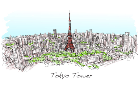450x283 Sketch Of City Scape Tokyo Tower With Building Skyline, Free