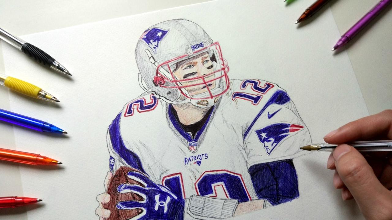 1280x720 Tom Brady Drawing With Ballpoint Pen