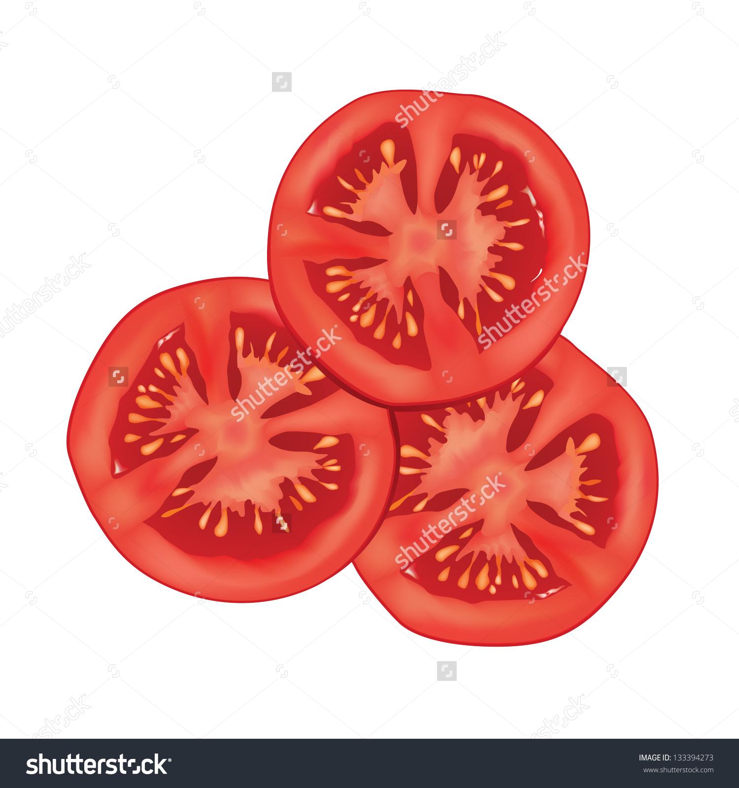 1500x1600 Sliced Tomato Isolated Over White Background. Vector Illustration
