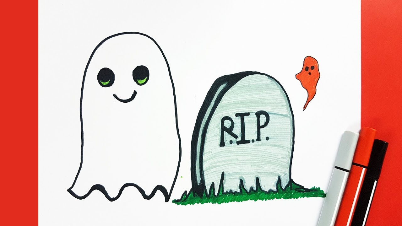 1280x720 Kids Drawing How To Draw A Cute Ghost And Tombstone Easy Step By