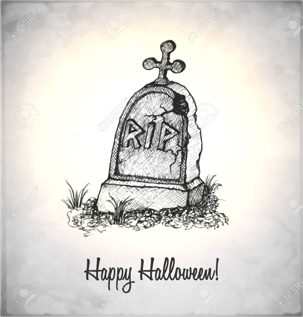 1244x1300 Tombstone In A Sketch Style. Hand Drawn Card For Halloween