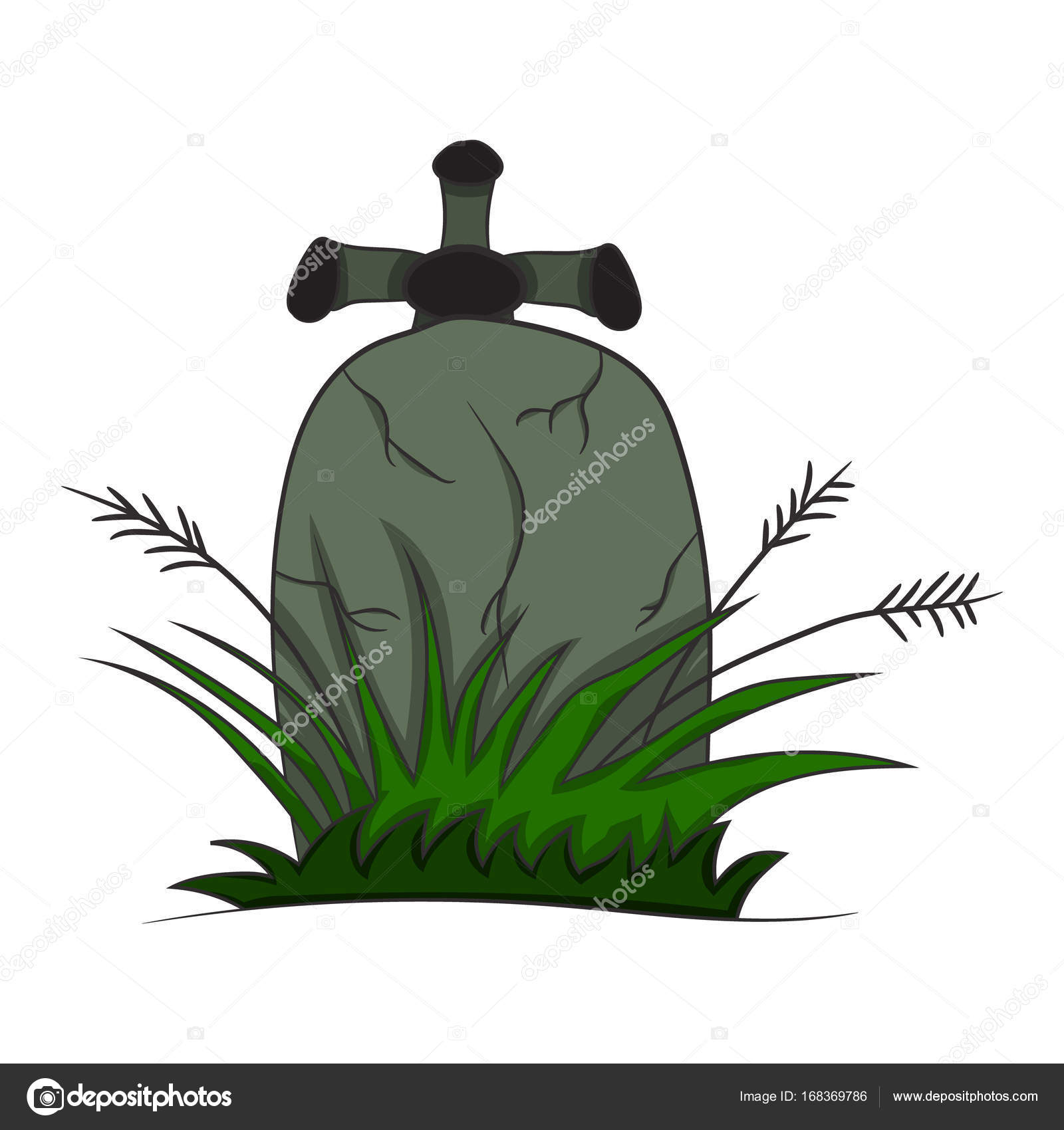 1600x1700 Image With A Tombstone. Vector Illustration Of A Halloween Theme