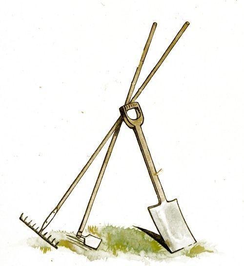 500x544 Wonderful Clip Art Drawing Of A Rake, Shovel And Hoe. Garden