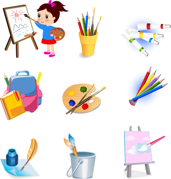 574x600 Drawing Tools Icons Set Free Vector In Adobe Illustrator Ai ( Ai