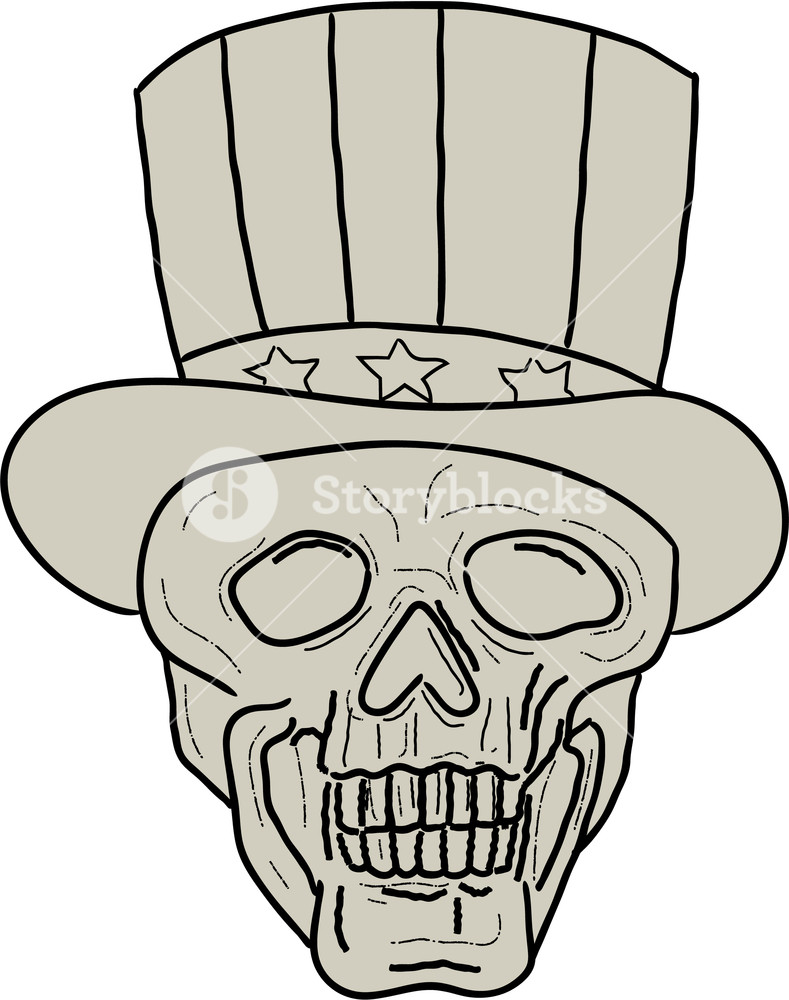 789x1000 Drawing Sketch Style Illustration Of A Skull Of Uncle Sam Wearing