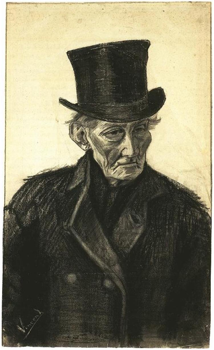 750x1225 Old Man With A Top Hat By Vincent Van Gogh