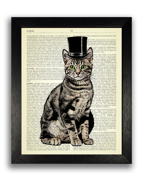 570x728 Top Hat Cat Art Print Cat Artwork Cat Drawing Cat