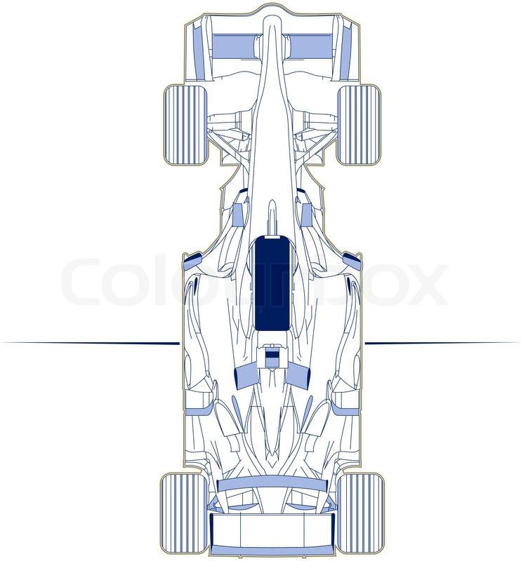 742x800 F1 Racing Car Scheme Top View Stock Vector Colourbox