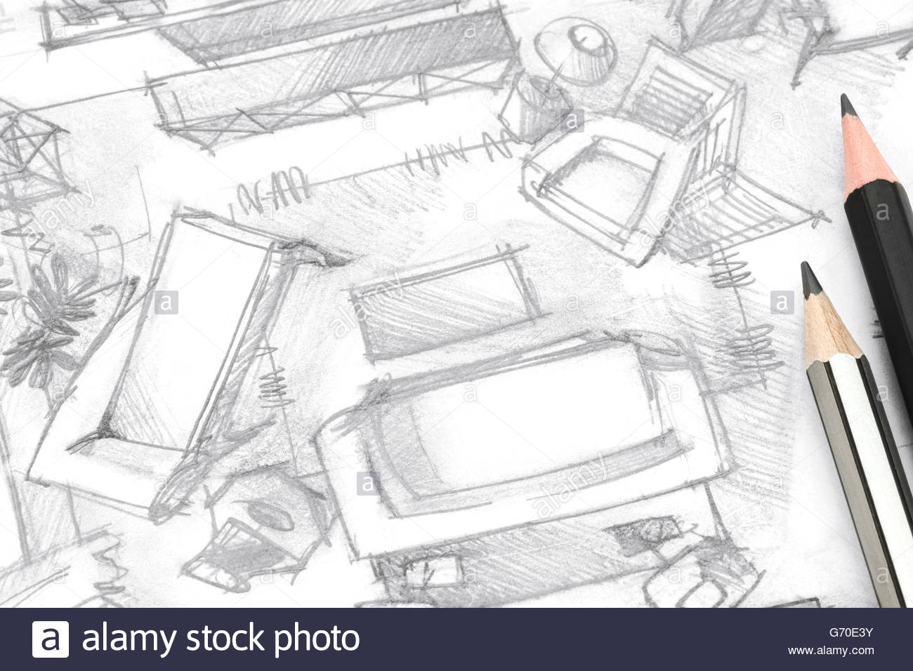 1300x956 Top View Living Room Freehand Sketch Architectural Drawing
