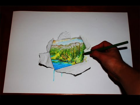 480x360 Amazing 3d Optical Illusion Drawing World Behind Paper