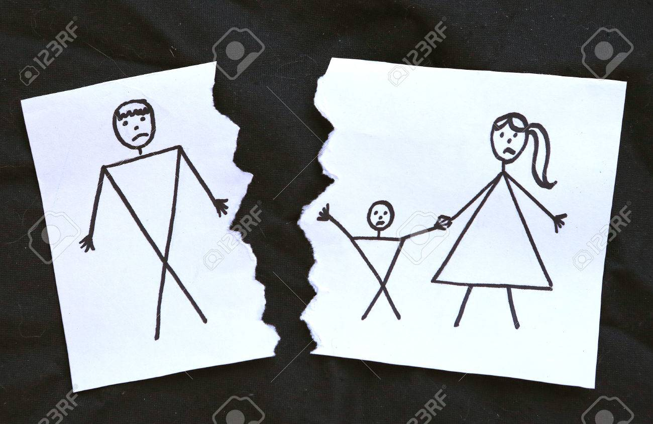 1300x845 Dad And Mom With Son Divorce Drawing On Torn Paper Stock Photo