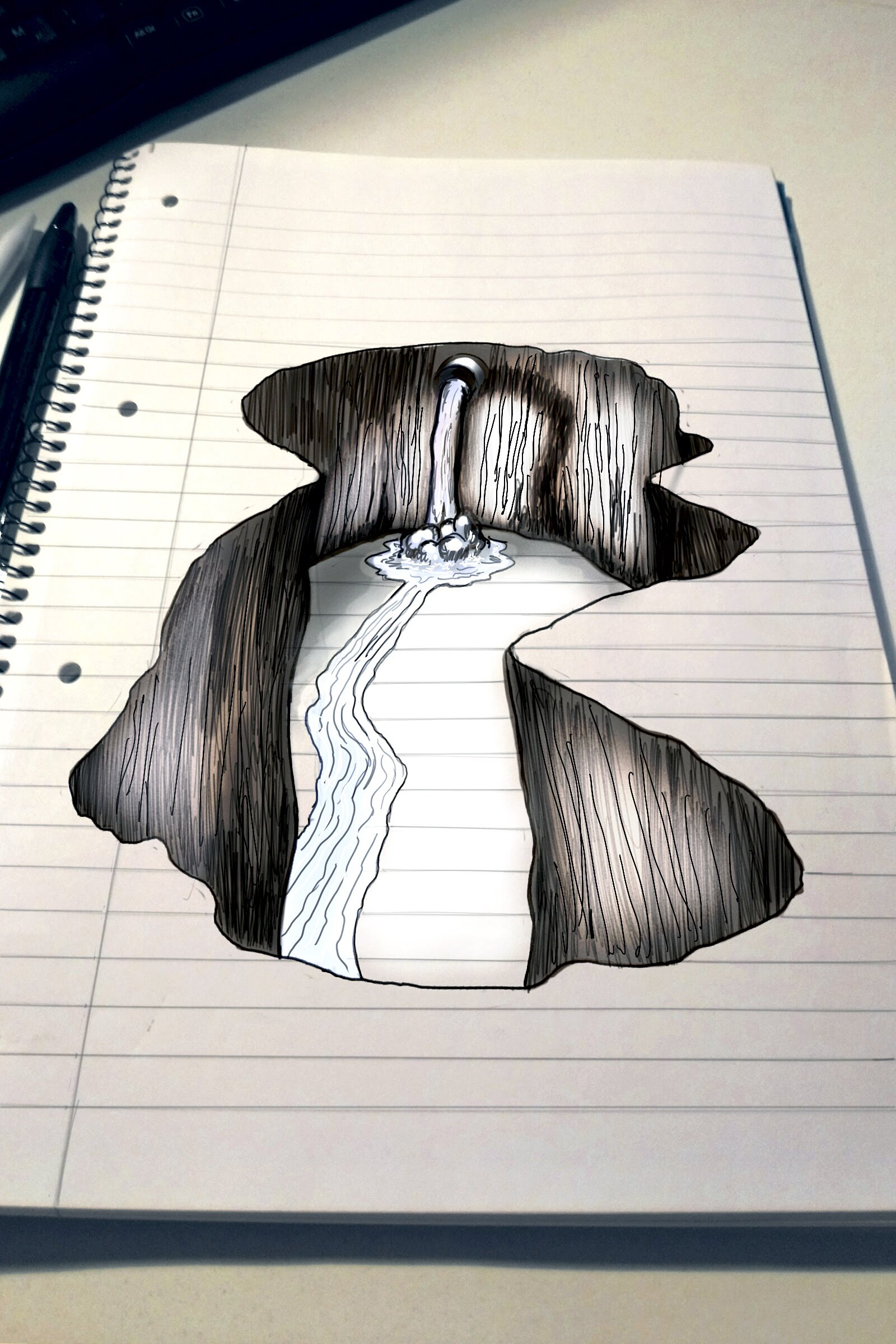 1600x2400 Trick Art On Line Paper Speed Drawing 3d Hole